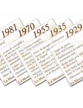 Assortiment de cartes la monnaie de votre année de naissance