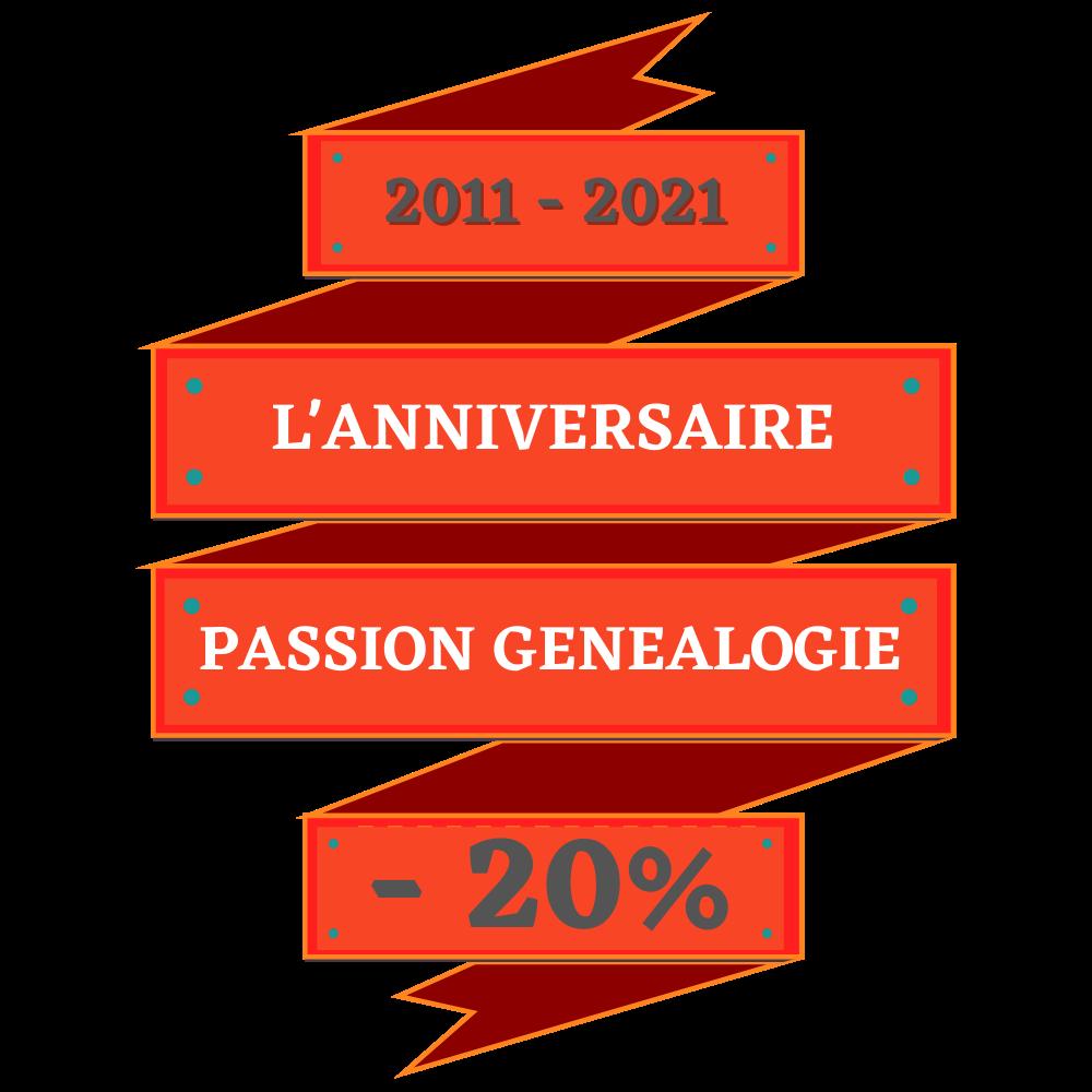 Pour les 10 ans de Passion-Genealogie profitez d une reduction de 20%